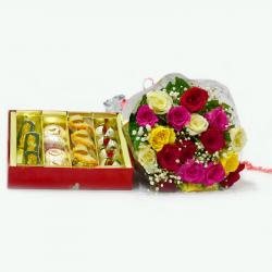 Mix Roses Bouquet with 1 Kg Assorted Sweet Box for Gurgaon