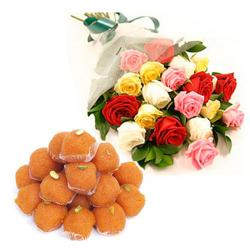 Mix Roses Bouquet with Ladoos for Bankura