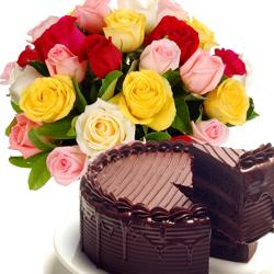 Mix Roses With Chocolate Cake for Kolkata