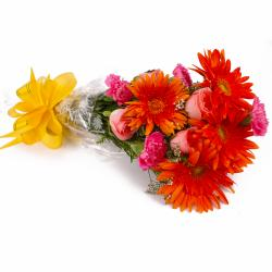 Mix Seasonal Flowers Hand Bunch Cellophane Wrapped for Gurgaon