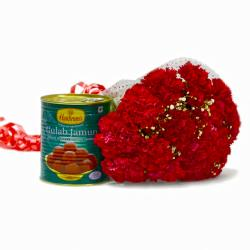 Mouthwatering Gulab Jamun with Love Red Carnations for Kolkata