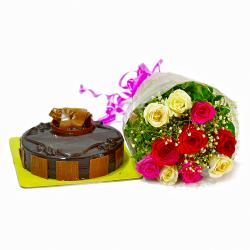 Multi Color 10 Roses Bunch with Chocolate Cake for Chandigarh