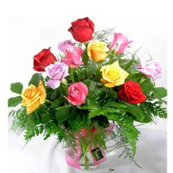 Multi Color Roses in Vase for Thanjavur