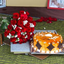One Kg Butterscotch Cake with Red Roses Bouquet for Baroda
