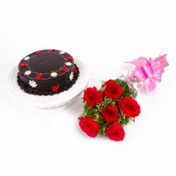 One Kg Chocolate Cake and Six Red Roses Bouquet for Indore