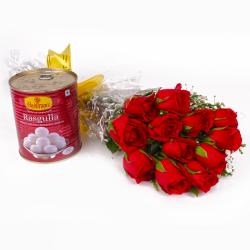 One Kg Rasgulla with Dozen Red Roses Bunch for Ghaziabad