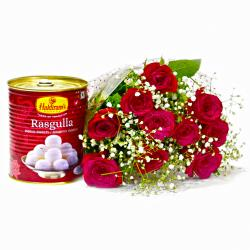 One Kg Rasgullas with Bouquet of 10 Red Roses for Gurgaon
