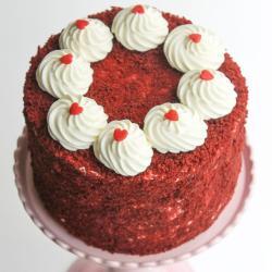 One Kg Round Shape Red Velvet Cake for Mathura