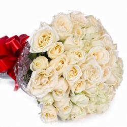 Peaceful 50 White Roses Bouquet for Ahmedabad