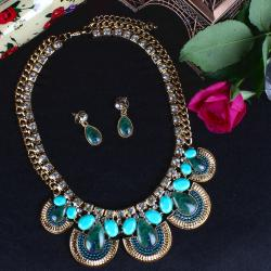 Peacock Print Drops Necklace Set for Ghaziabad