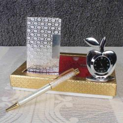 Pen With Card Holder In Silver Plated