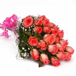 Perfect Pink Roses Bunch with Cellophane Wrapping for Bangalore