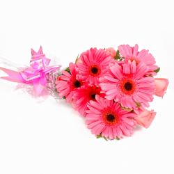 Perfect Twelve Pink Floral Bunch for Belgaum