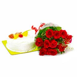 Pineapple Cake and Romantic Red Roses for Chandigarh