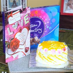 Pineapple Cake with Cadbury Celebration Chocolate Pack and Love Card for Dewas