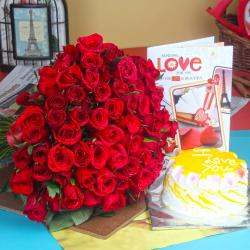 Pineapple Cake with Red Roses Bouquet and Love Card for Gurgaon