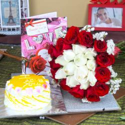Pineapple Cake with Roses Bouquet and Love Greeting Card for Bangalore
