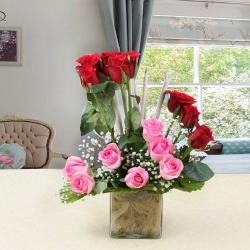 Pink and Red Roses in Glass Vase for Bankura