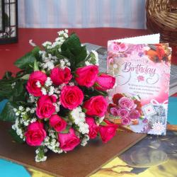 Pink Roses and Birthday Greetings For You for Pune
