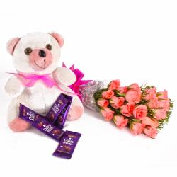 Pink Roses and Cute Teddy with Cadbury Dairy Milk Bars for Ahmedabad