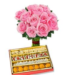 Pink Roses Bouquet and Sweets for Pune