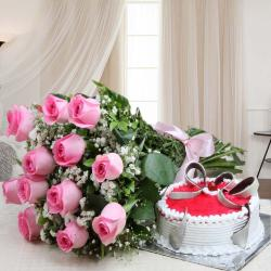 Pink Roses Bouquet with Strawberry Cake for Ahmedabad