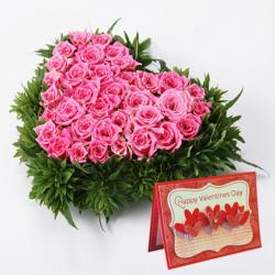 Pink Roses Heart Shape Arrangement with Valentine Card for Jaipur