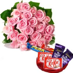Pink Roses with Assorted Chocolates for Hyderabad
