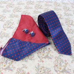 Polka Dots Tie Cufflinks And Handerchief