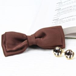 Polyester Brown Bow Tie and Cufflink Set for Kapurthala