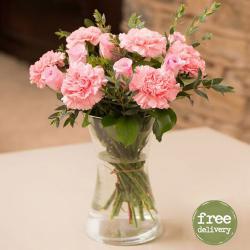 Pretty Carnations and Roses Vase for Jaipur
