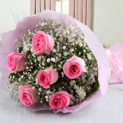 Pretty Six Pink Roses Bouquet for Noida