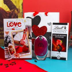 Pure Police Perfum with Lindt Strawberry Chocolate and Love Greeting Card for Her for Vasco Da Gama
