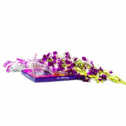 Purple Orchids with Cadbury Celebration Chocolate Box for Pune