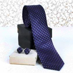 Purple Weaved Tie and Cufflink for Dombivli