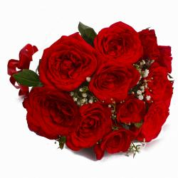 Radiant 12 Red Roses Bouquet with Tissue Wrapped for Jaipur