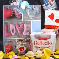 Raffaello Chocolate and Personalized Message Love Bottle Hamper for Chandigarh