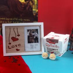 Raffaello Chocolate and Sparkling Love with Hearts Photo Frame Combo for Kanchipuram