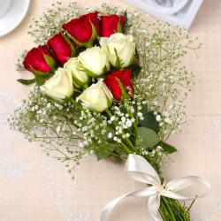 Red and White Roses Bouquet for Noida