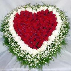 Red and White Roses In Heart Shape for Chandigarh