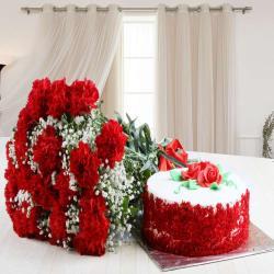 Red Carnation Bouquet with Red Velvet Cake for Baroda