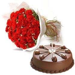 Red Carnation With Chocolate Cake for Pune