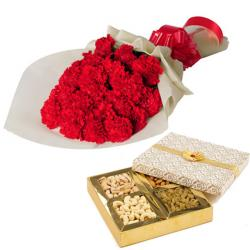 Red carnation with Dryfruit for Asansol