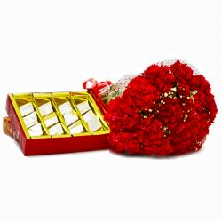 Red Carnations Bunch with Box of Kaju Katli for Gurgaon