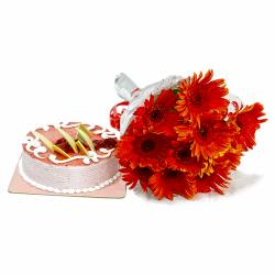 Red Gerberas Bouquet with Strawberry Cake for Chandigarh