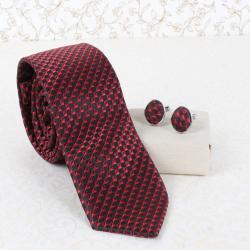 Red Marron Tie and Cufflink for Rajahmundry