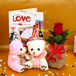 Red Rose with Couple Teddy Bear and Love Greeting Card for Gurgaon
