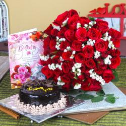 Red Roses and Eggless Cake with Birthday Card For Friend for Jaipur