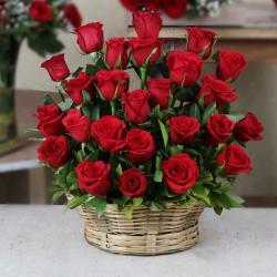 Red Roses Arrange in a Basket for Chandigarh