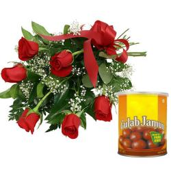 Red Roses Bouquet And Gulab Jamun for Ahmedabad